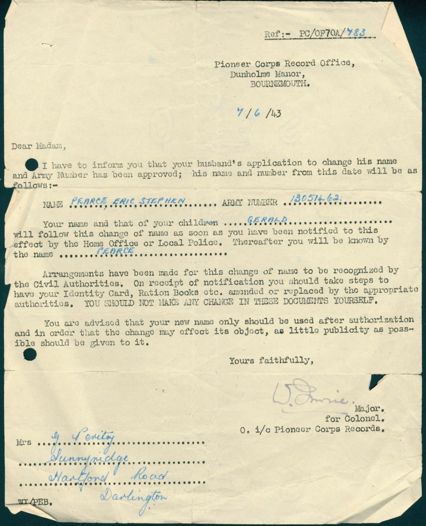 Kitchener camp, Erich Peritz, Change of name, 7 June 1943