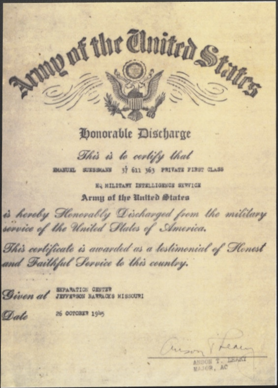 Kitchener camp, Emanuel Suessmann, Honorable Discharge, United States Army, 26 October 1945