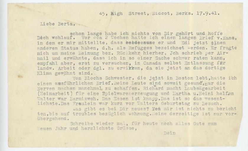 Eduard Elias, Letter, 17 September 1941