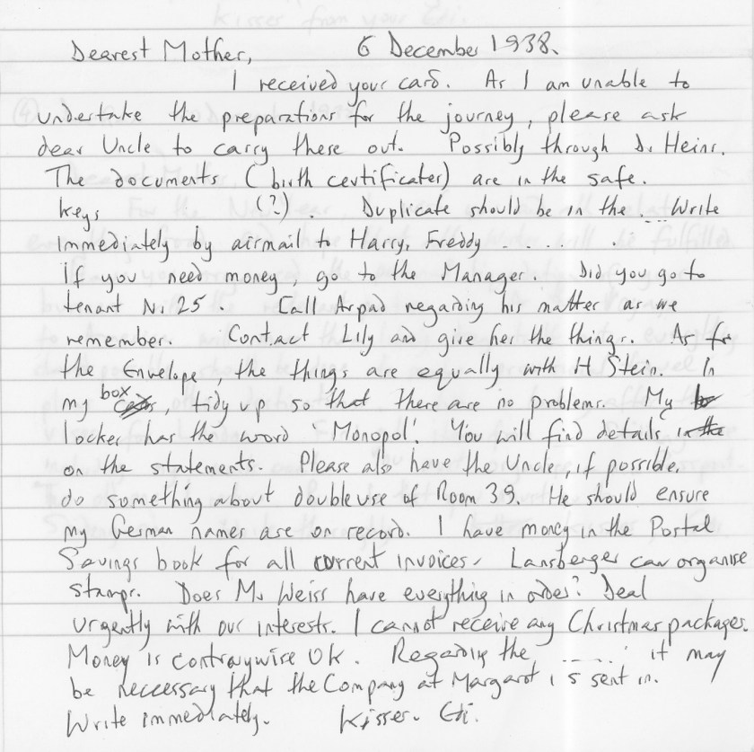 Eduard Elias, Dachau, Letter, 6 December 1938, translation