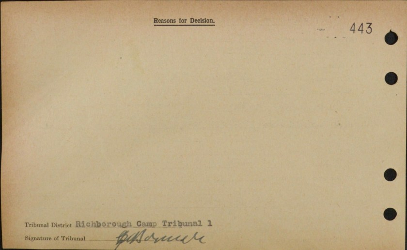 Richborough camp 1939, Victor Cohn, Exemption from internment, reverse side of card