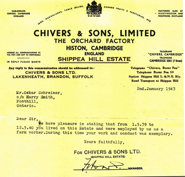 Oscar Schreiner, Reference, Chivers and Sons Ltd, 2 January 1943