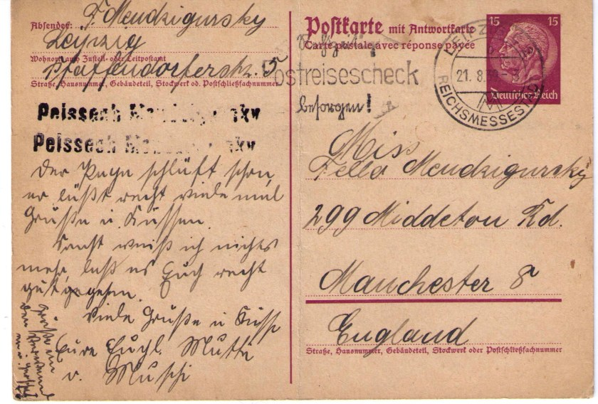Richborough transit camp, Peisech Mendzigursky, Letter from Frieda, 21 August 1939, Leipzig to Manchester, UK