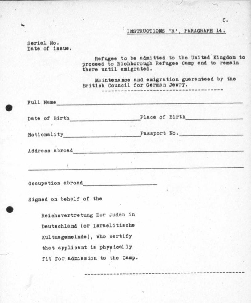 Richborough transit camp, Application form, 1939, Cenral British Fund archives