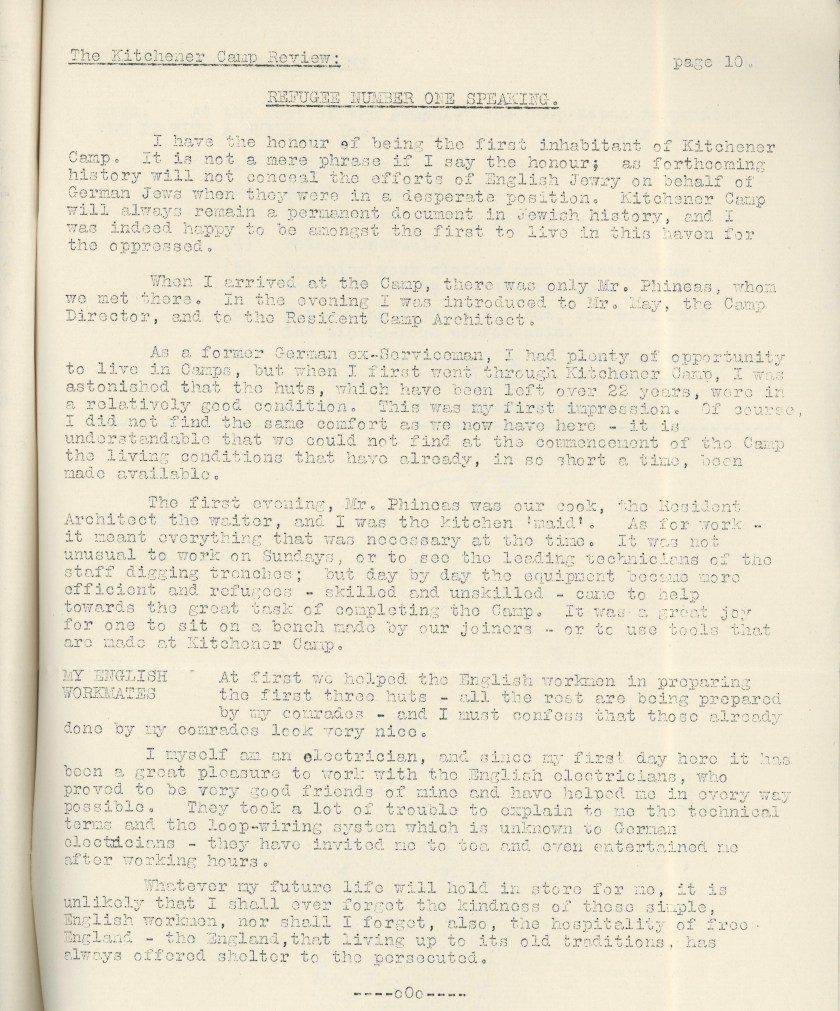 Kitchener Camp Review, April 1939, page 10, top