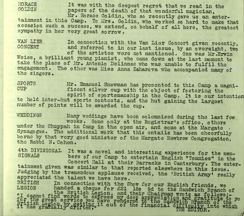 Kitchener Camp Review, no. 7, September 1939, page 3, base