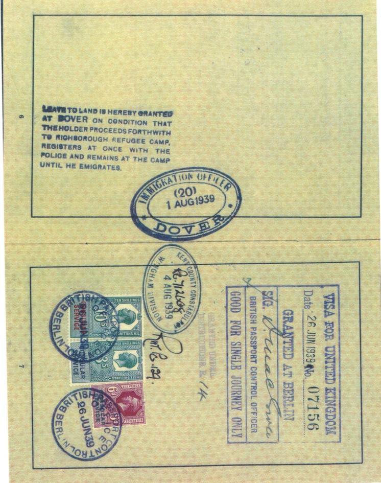 Richborough transit camp, 1 August 1939, Herbert Mosheim, passport, Richborough refugee camp, Visa