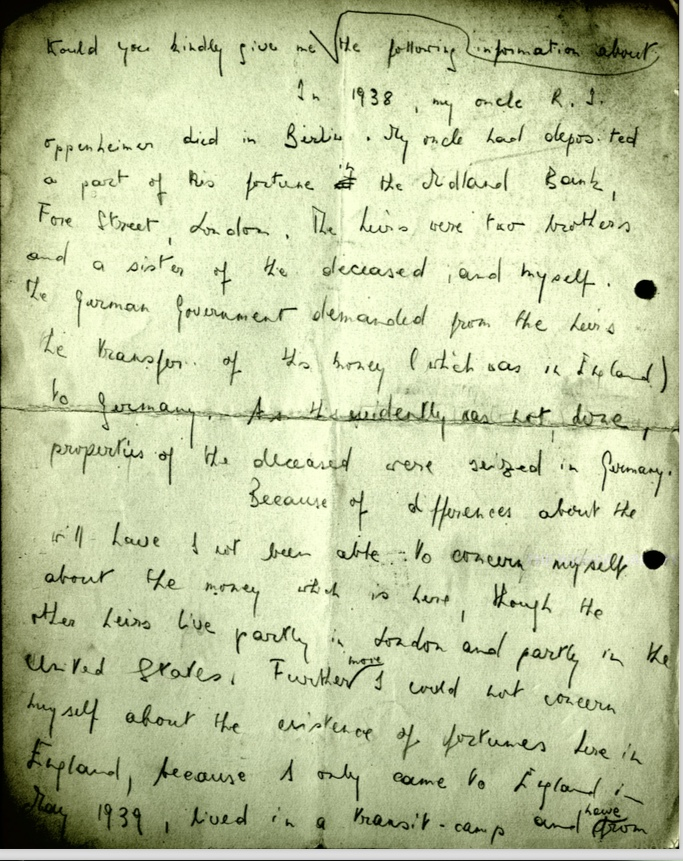 Kitchener camp, Wolfgang Priester, Letter, 1938, transit camp, Uncle R J Oppenheimer, Berlin, Will, estate, translation, nd