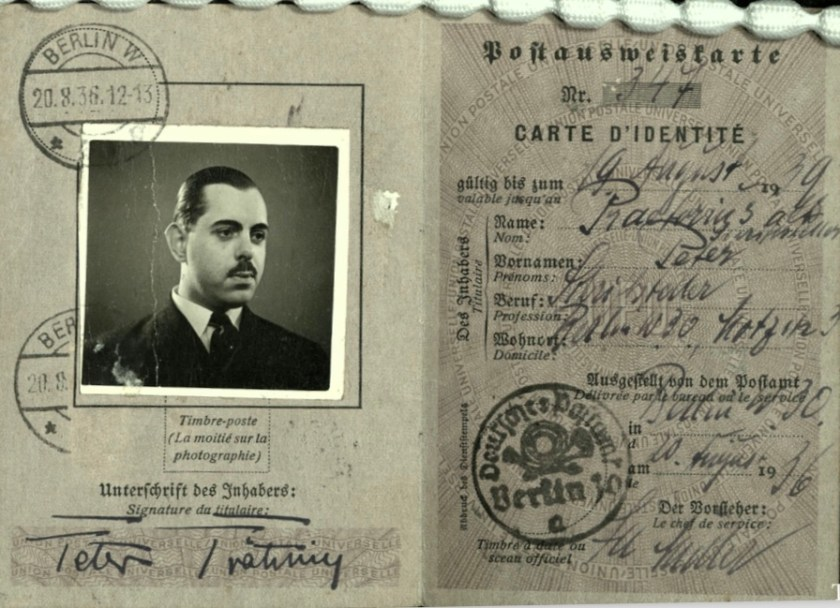 Kitchener camp, Wolfgang Priester, Deutßche Reichspoßt, Carte D'Identitié, photograph, 20 August 1936