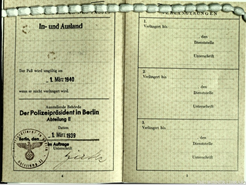 Wolfgang Priester, Reisepass, Deutsches Reich, Document, German passport, Berlin stamp, pages 4 and 5