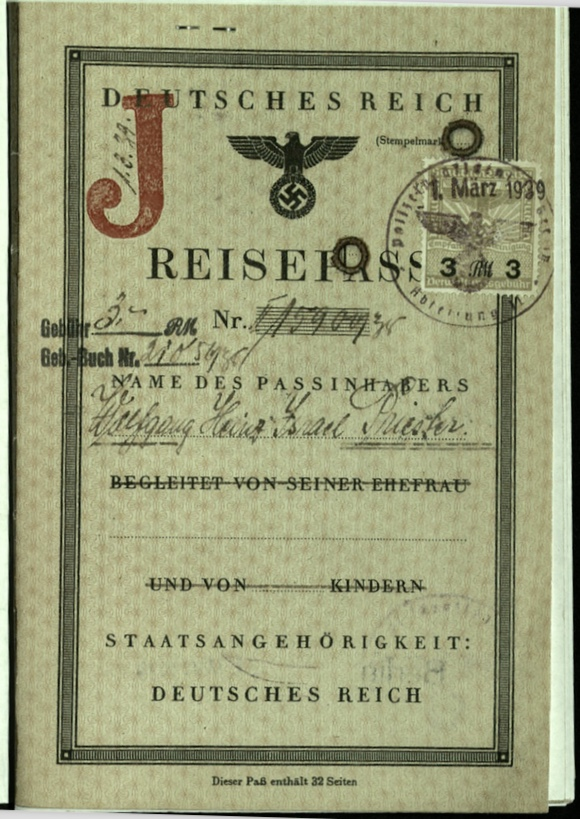 Wolfgang Priester, Reisepass, Deutsches Reich, Document, German passport, J