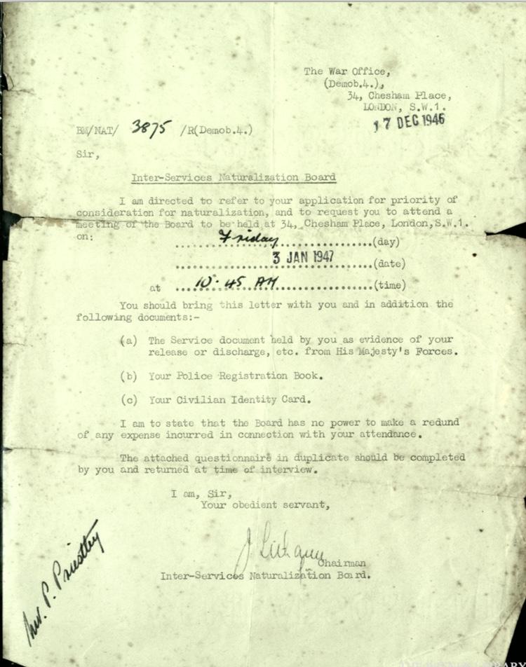 Wolfgang Priester, War Office, Letter 17 December 1946, Inter-services Naturalization Board