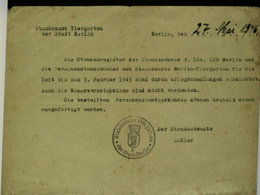 Wolfgang Priester, Stanesamt, Document, Stadt Berlin, 27 May 1946
