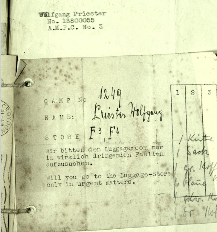Kitchener camp, Wolfgang Priester, Document, November 1939, Luggage store receipt F3, F6, front
