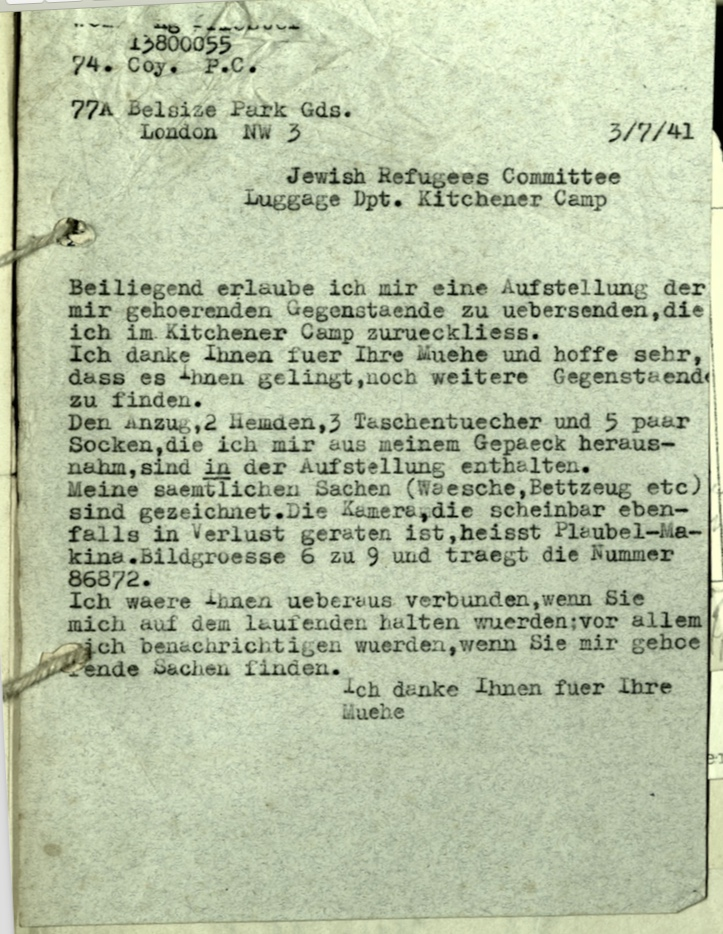 Kitchener camp, Letter, Jewish Refugees Committee, Luggage department, 3 July 1941, 74th Company, Pioneer Corps