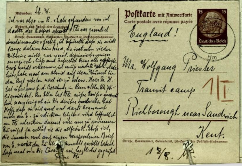 Kitchener Transit Camp, Richborough, Hut 1/II, Wolfgang Priester