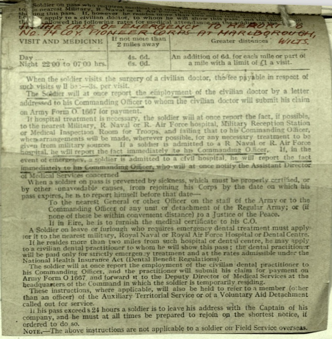 Wolfgang Priester, Pioneer Corps, 74 Coy, Medical certificate, to report to PC at Marlborough, Wilts, nd