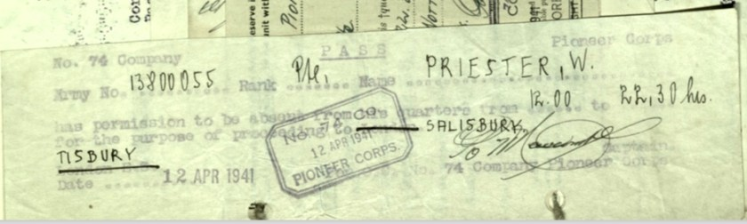 Wolfgang Priester, Pioneer Corps, 74 Coy, Permission for absence, 12 April 1941, Salisbury