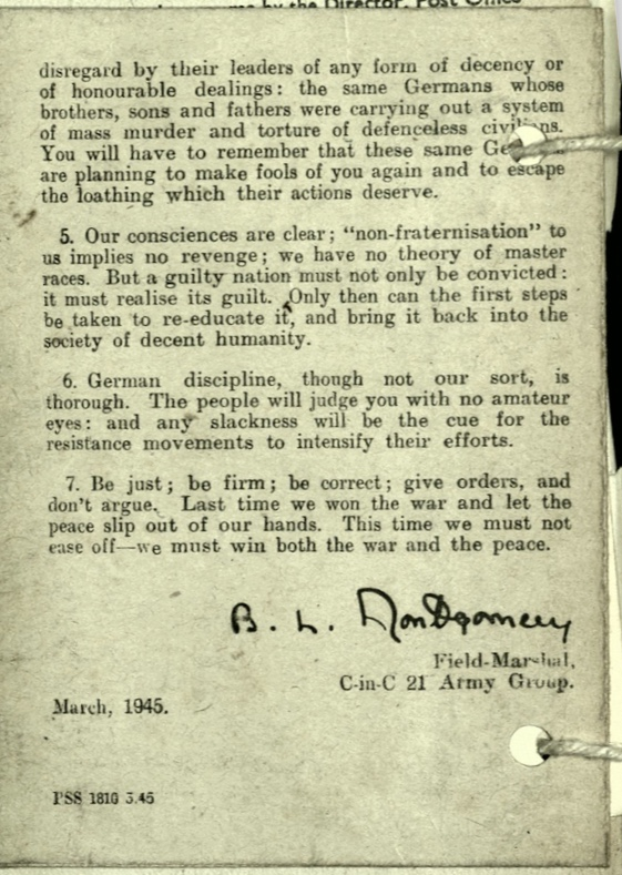 Wolfgang Priester, Pioneer Corps, Pamphlet by the Commander-in-Chief on Non-Fraternisation, page 4, March 1945