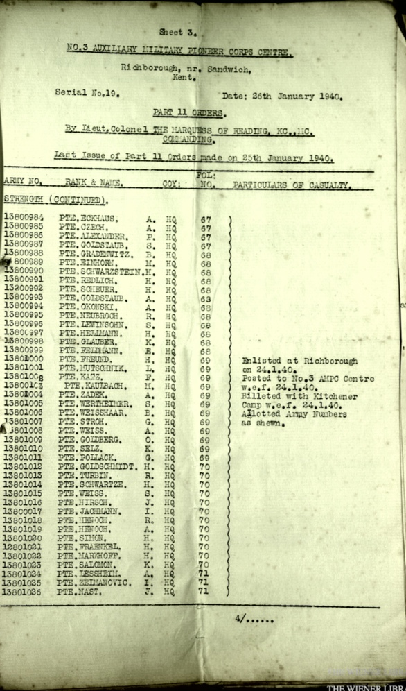 Wolfgang Priester, Document, No. 3 Auxilliary Military Pioneer Corps Centre, Kitchener camp, Richborough, Sandwich, Serial No. 19, Part II Orders, 26 January 1940, Page 4