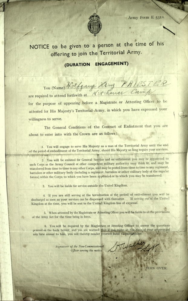 Kitchener camp, Wolfgand Priester, Army Form E 531A, Duration Engagement, page 1