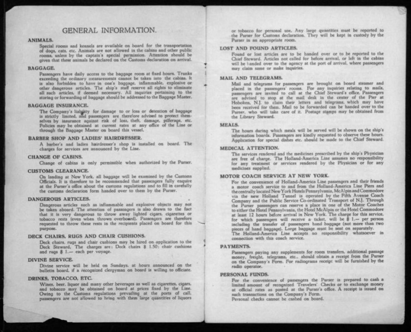 Kitchener camp, Werner Gembicki, Document, List of Passengers from Rotterdam to New York, 22 November 1939, General Information