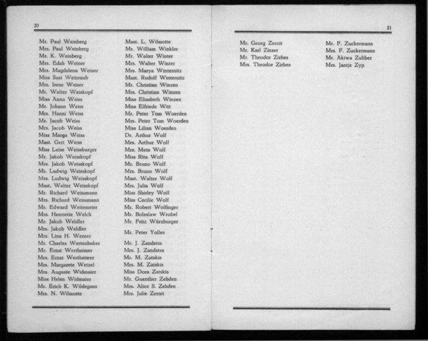 Kitchener camp, Werner Gembicki, Document, List of Passengers from Rotterdam to New York, 22 November 1939, pages 20 to 21