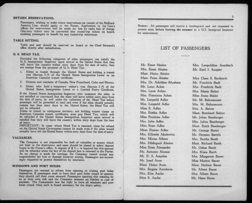Kitchener camp, Werner Gembicki, Document, List of Passengers from Rotterdam to New York, 22 November 1939, pages 4 to 5