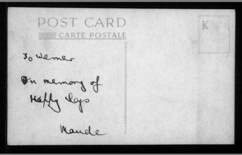 Kitchener Camp, Photograph, Sandwich resident Maude Peabody, reverse