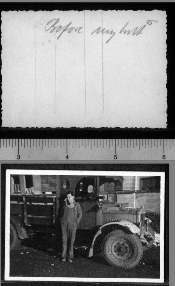 Kitchener camp, Werner Gembicki, Photo, truck driving, in front of hut
