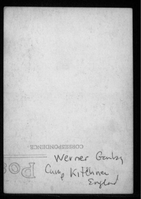 Richborough transit camp, Werner Gembicki, England, reverse