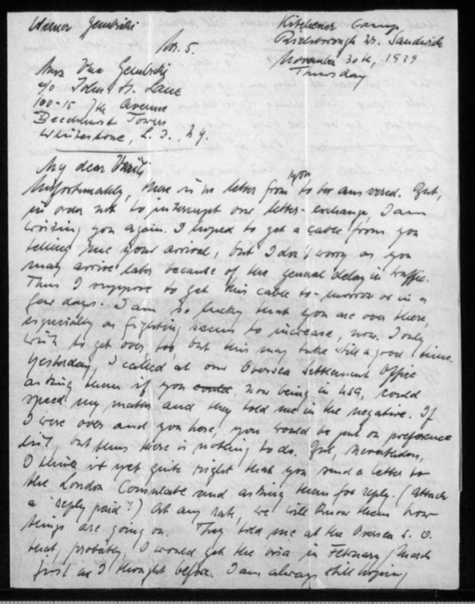 Richborough transit camp, Werner Gembicki, Letter, News about passage to USA, 30 November 1939, page 1