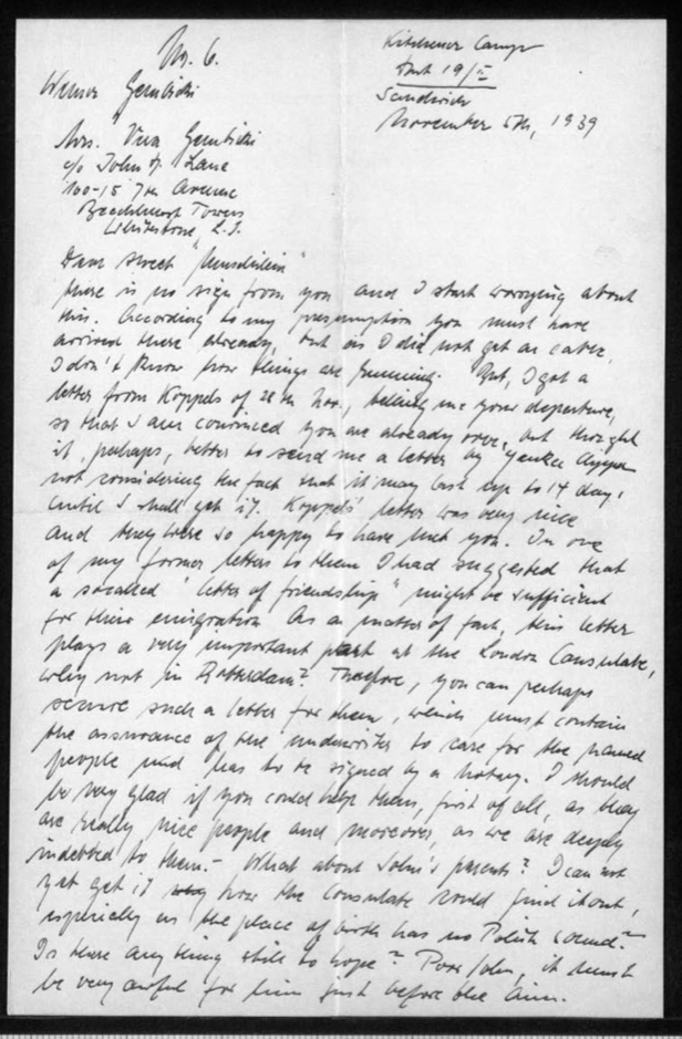Werner Gembicki, Kitchener camp, Hut 19/I, Letter, Concern about lack of post from USA where family is in process of emigrating, Letter from Koppels, Letter of Friendship very important at London Consulate, Asks wife to procure L of F for Koppels to be signed by a notary, 17 November 1939, page 1