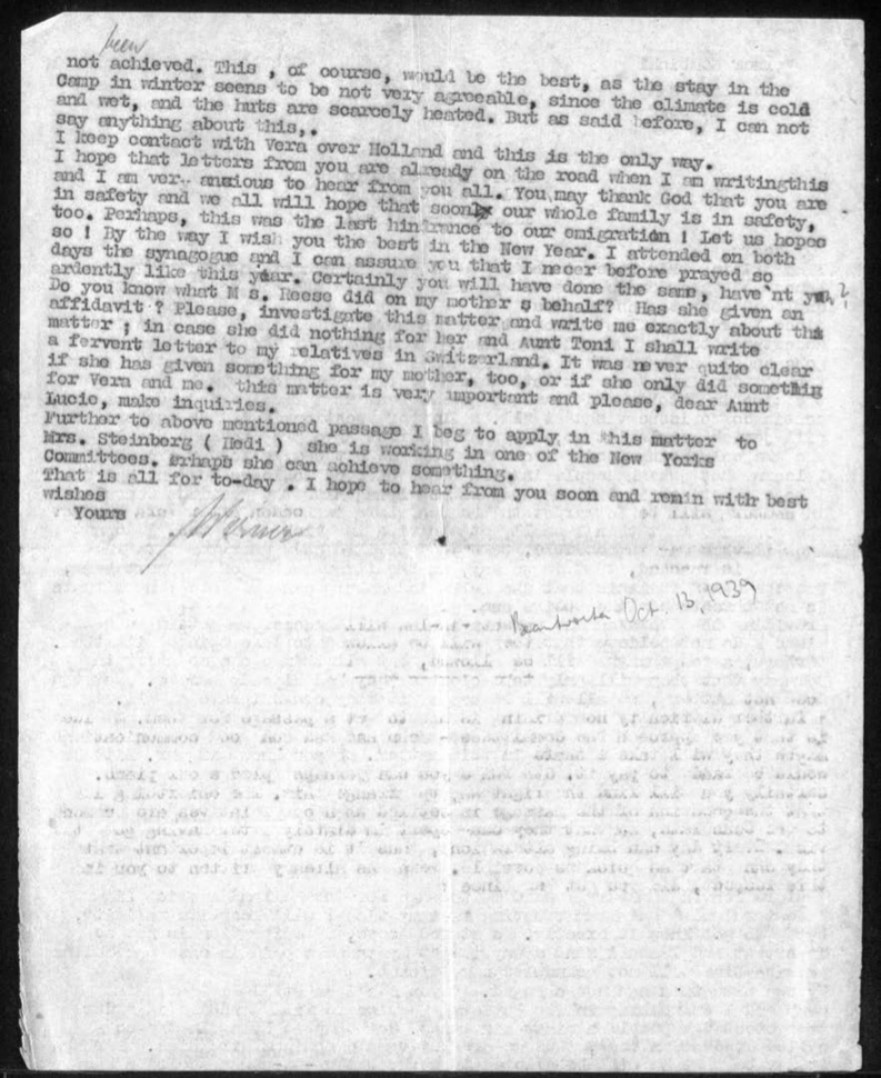 Kitchener camp, Werner Gembicki, Letter, Camp in winter cold and wet, Family safety, Rosh Hashanah, New York Committee, 16 September 1939, page 2