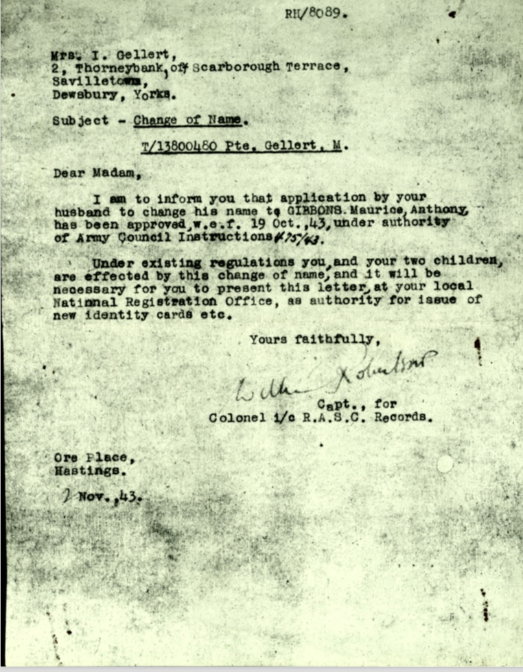 Kitchener camp, Martin Gellert, Letter 2 November 1943, Pioneer Corps, Change of name dated 19 October 1943