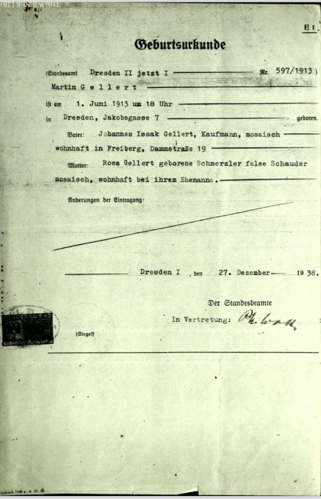 Kitchener camp, Martin Gellert, Document, Birth certificate, 27 December 1938, front