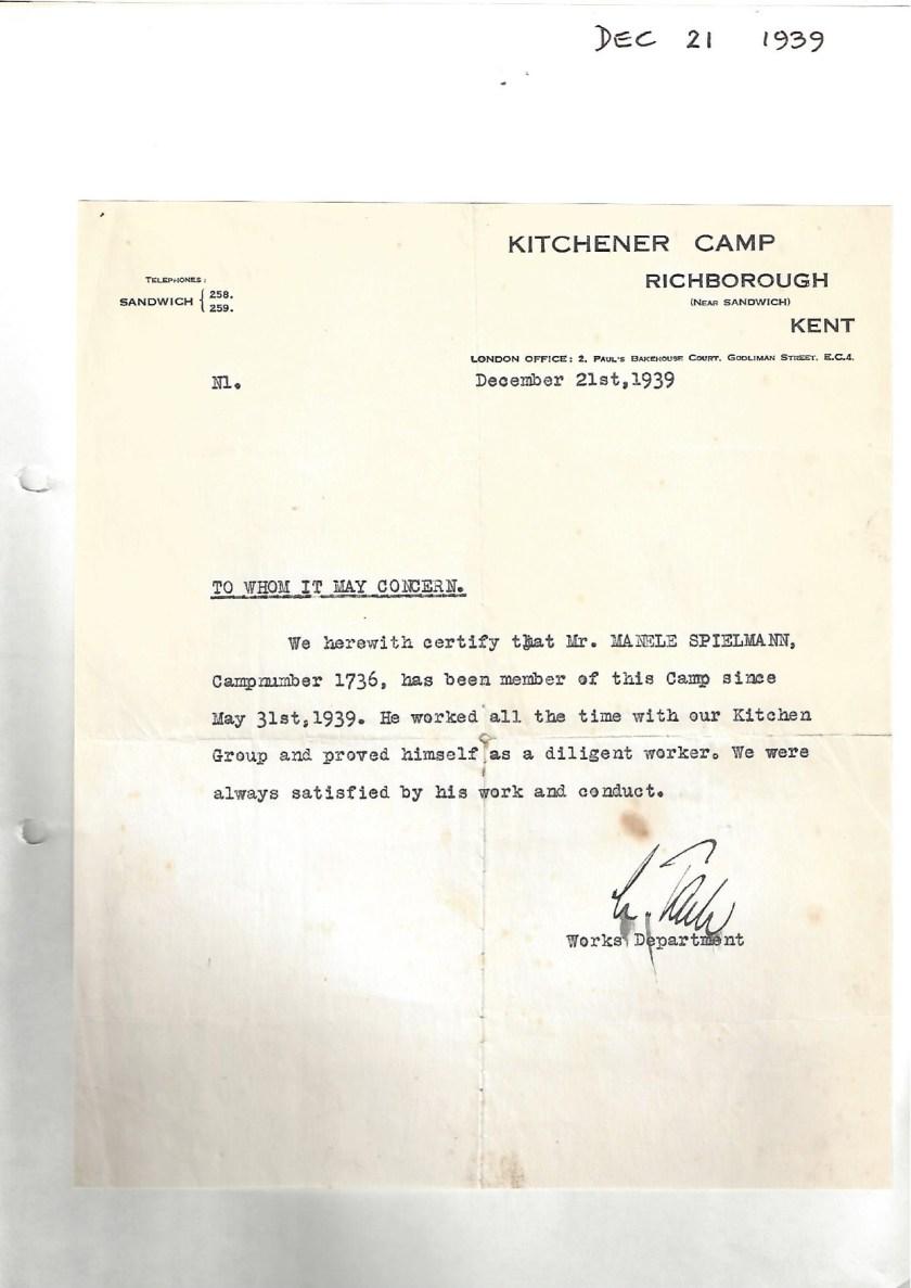 Kitchener camp, Manele Spielmann, Letter, reference, Arrival at camp 31 May 1939, Kitchen group, Diligent worker, 21 December 1939