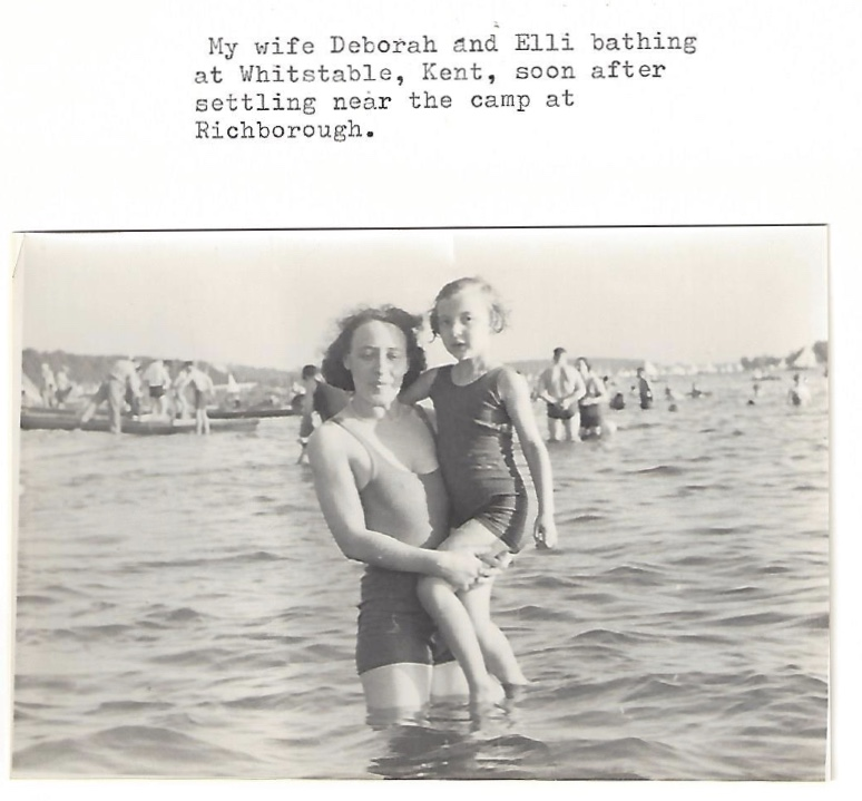 Richborough transmigrant camp, Manele Spielmann, Debora and Elli at Whitstable, Kent, soon after settling near Kitchener camp