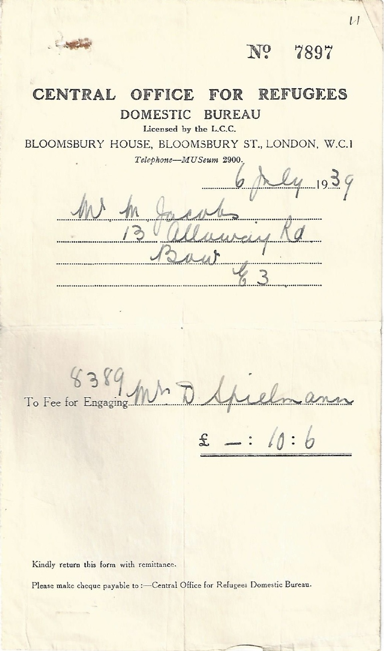 Kitchener camp, Manele Spielmann, Document, Central Office for Refugees, Domestic Bureau, Bloomsbury House, 6 July 1939