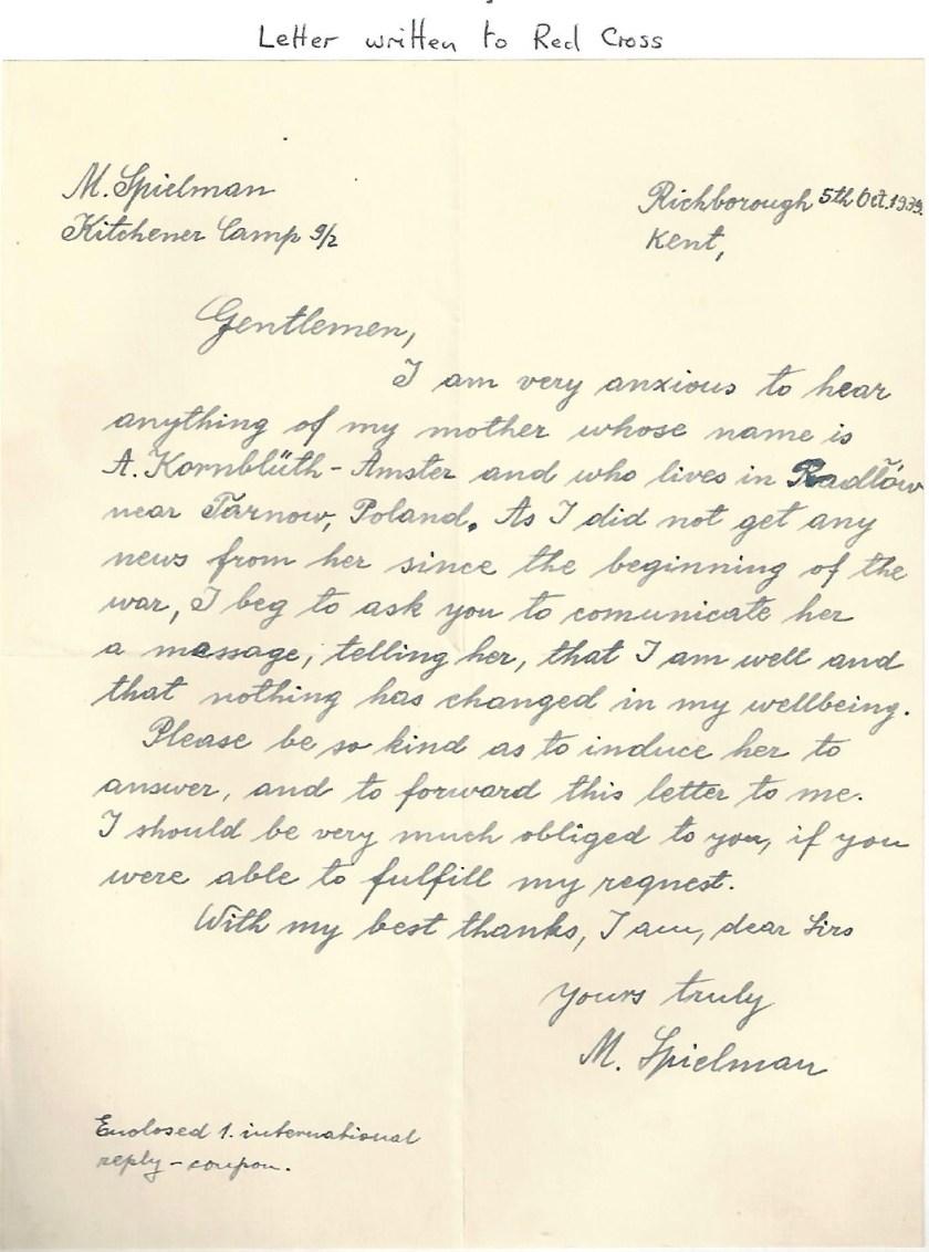 Kitchener camp, Manele Spielmann, Letter, Red Cross, Enquiry after mother in Tarnow, Poland, 5 October 1939