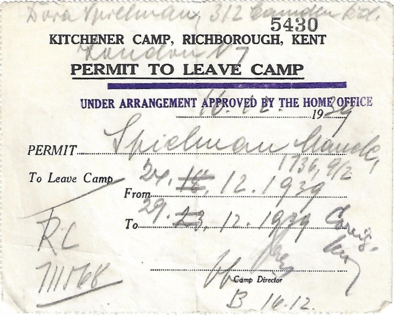 Kitchener camp, Manele Spielmann, Document, Permit to leave camp, Home Office approval 16 December 1939, For Camden from 27 December 1939 to 29 December 1939