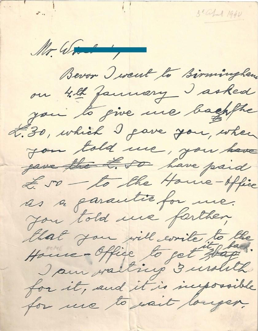 Kitchener camp, Manele Spielmann, Letter, Request for return of £30, Birmingham, 1940