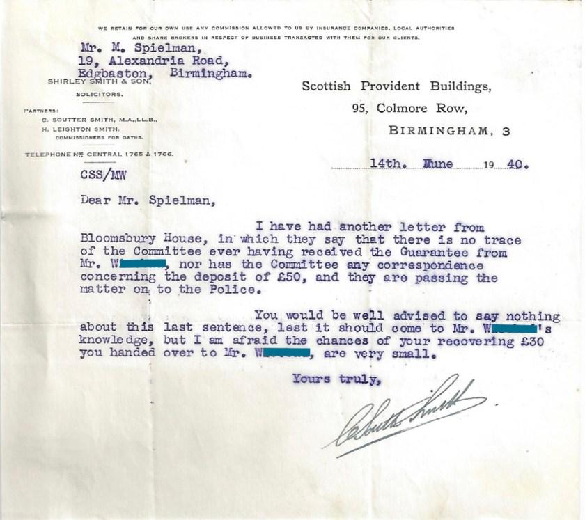 Kitchener camp, Manele Spielmann, Letter, Solicitor, Bloomsbury House, Guarantee not received, Police matter, 14 June 1939