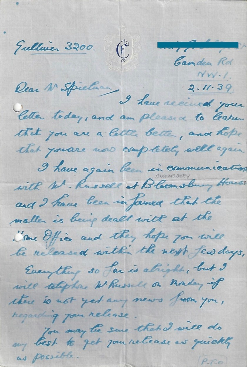 Kitchener camp, Letter, Manele Spielmann, Bloomsbury House communication to try to gain release, 2 November 1939