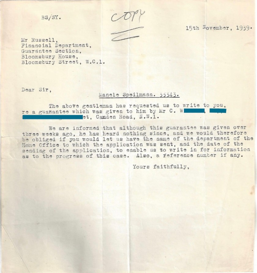 Kitchener camp, Manele Spielmann, Letter, Mr Russell, Bloomsbury House, Request for further information, 15 November 1939