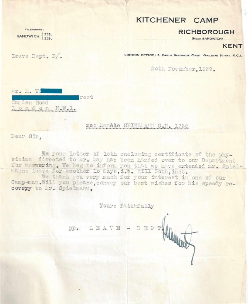Kitchener camp, Manele Spielmann, Letter, Leave extended, medical certificate enclosed, 20 November 1939