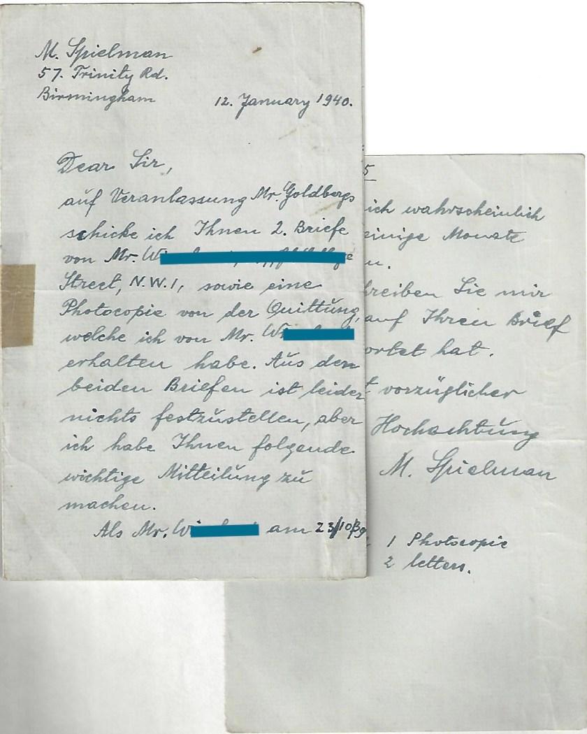 Kitchener camp, Manele Spielmann, Letter, Mr W, 12 January 1940