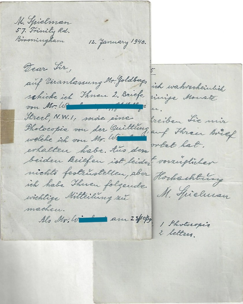 Kitchener camp, Manele Spielmann, Letter, Mr W, 12 January 1940