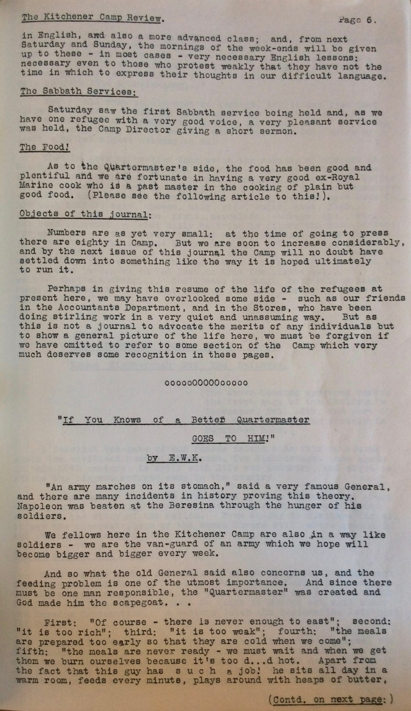 Kitchener Camp Review, No. 1, March 1939, page 6