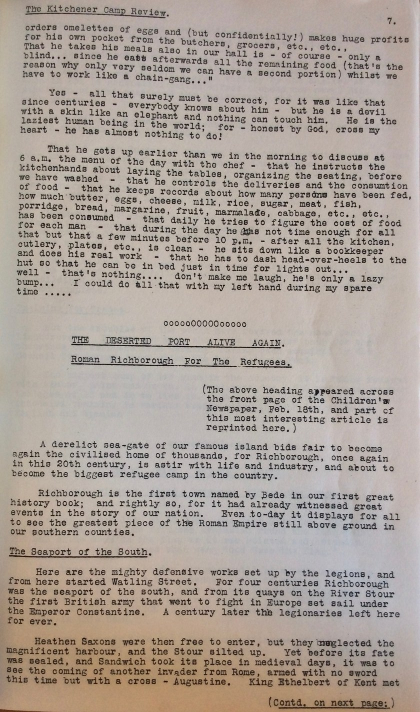 Kitchener Camp Review, No. 1, March 1939, page 7